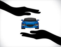 Concept Illustrations of a Car Insurance or Car Protection using Hand Silhouettes Royalty Free Stock Photo
