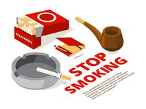 Concept illustrations of stop smoking theme. Various isometric pictures of tools for smokers royalty free illustration