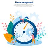 Concept illustrations of time management, teamwork, business concept, business planning, web design, web page. Color flat vector d royalty free stock photos