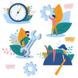 Concept illustrations of time management, teamwork, business concept, business planning, web design, web page. Color flat vector d stock images