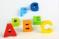 An concept Image of abc letters, pre School, toy, Alphabet. Abstract Royalty Free Stock Photo