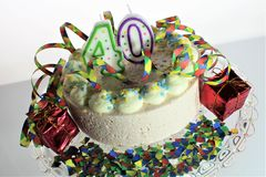 An concept image of a birthday cake - 40 birthday Royalty Free Stock Image