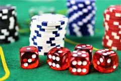 An concept Image of a Casino gambling, chips royalty free stock photo