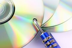 An concept Image of a cd and a lock - data security Royalty Free Stock Photo