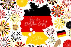 Concept image of clebrating Germany unity day. Concept image of Germany map and abstarct fireworks and `German unity day` text in geman language royalty free illustration