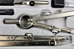 An concept image of a compasses tool - geometry stock images