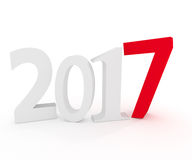 2017 concept image, 3d render. Number 2017 with a red number 7, New Year concept, 3d rendering vector illustration