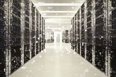 Pixelated effect of an image of a room of virtual database. 3D Rendering stock photo