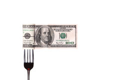 Concept image of food money. Red plate full of money and Chinese chopsticks isolated royalty free stock images