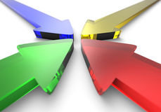 Four colorful glass arrows. Concept image of four colorful 3D arrows pointing at a central point Stock Image