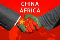 Concept image of Handshakes between China-Africa, economic relations, Bilateral trade, China in Africa. Concept image of Handshakes between China-Africa royalty free stock photography