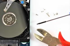 An concept Image of hard drive, repair - disk royalty free stock photography