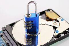 An concept image of a hard drive with a lock Royalty Free Stock Images