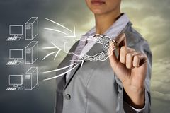 Concept image of high cloud technologies. Woman's hand draws a picture of the concept of high-tech cloud technologies Stock Photography