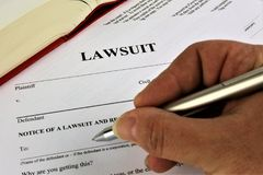 An concept Image of a lawsuit stock photos