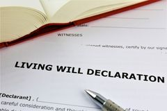 An concept Image of a living will declaration stock images
