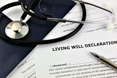 An concept Image of a living will declaration stock photography