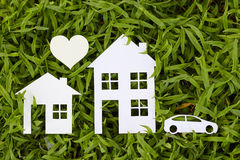 Concept image of make your a house. On green grass Stock Images