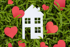 Concept image of make your a house. On green grass Stock Photo