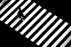 Concept image of a man walking across zebra crossing stock photos