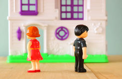 Concept image of man and woman angry or  fighting . little plastic toy dolls (male , female, ) , selective focus Royalty Free Stock Photography