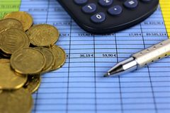 An concept Image of Money, calculator, pen royalty free stock image