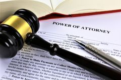 An concept Image of a power of attorney, business, lawyer stock photography