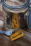 Concept image with the secret to life's desires. Concept image using hand written tags and and old jar with the keys to life in it royalty free stock images