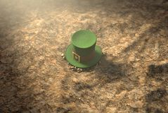 Lost Tiny Leprechaun Hat. A concept image showing a tiny leprechaun hat apparently lost on the ground in the day time - 3D render Royalty Free Stock Photos