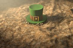Lost Tiny Leprechaun Hat. A concept image showing a tiny leprechaun hat apparently lost on the ground in the day time - 3D render Royalty Free Stock Image