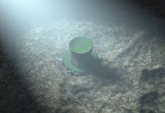 Lost Tiny Leprechaun Hat. A concept image showing a tiny leprechaun hat apparently lost on the ground at night - 3D render Royalty Free Stock Image
