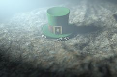 Lost Tiny Leprechaun Hat. A concept image showing a tiny leprechaun hat apparently lost on the ground at night - 3D render Royalty Free Stock Photography