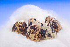 Concept image of small Easter eggs on clouds royalty free stock photography