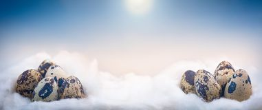 Concept image of small Easter eggs on clouds stock photography
