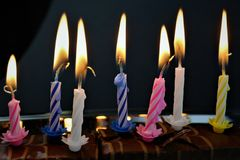 An concept Image of some candles at a children birthday party. Abstract royalty free stock image