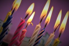 An concept Image of some candles at a children birthday party. Abstract Stock Image