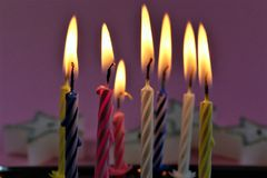 An concept Image of some candles at a children birthday party. Abstract royalty free stock photos