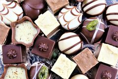 An concept Image of some chocolate pralines. Food - abstract Royalty Free Stock Photo