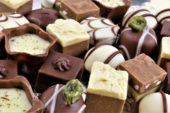 An concept Image of some chocolate pralines. Food - abstract Royalty Free Stock Images