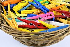 An concept Image of some colorful clothespins. Abstract Royalty Free Stock Images