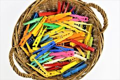 An concept Image of some colorful clothespins. Abstract Royalty Free Stock Photos