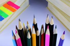 An concept Image of some colorful pencils with some books. Abstract royalty free stock images