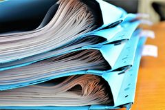 An concept Image of some files with documents. Abstract Stock Photo