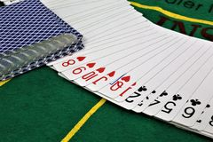 An concept Image of some poker cards in a Casino. Abstract Royalty Free Stock Photography