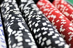 An concept Image of some poker Chips in a Casino. Abstract Royalty Free Stock Photography