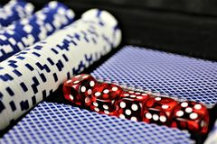 An concept Image of some poker Chips in a Casino. Abstract Royalty Free Stock Images