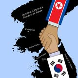 Concept image of South And North Korea truce. Concept vector image of South And North Korea truce with shaking hands and countries maps stock illustration