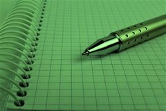 An concept Image of a spiral Notebook with a pen and copy space. Abstract Royalty Free Stock Photo