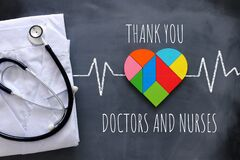 Concept image of thank you to doctors, nurses and medical staff