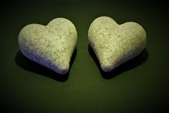 An concept image of two hearts - with copy space royalty free stock photo